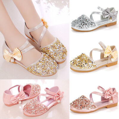 Summer Kids Girls Bowknot Glitter Sequins Sandals Wedding Princess Shoes Size