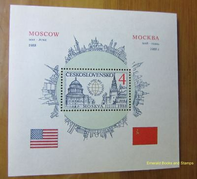 EBS Czechoslovakia 1988 Reagan in Moscow Block 82 Arms Reduction MNH**
