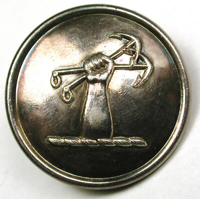 """Antique Silver Livery Button - Arm Holding 2 Anchors - 1"""" Robbins"""
