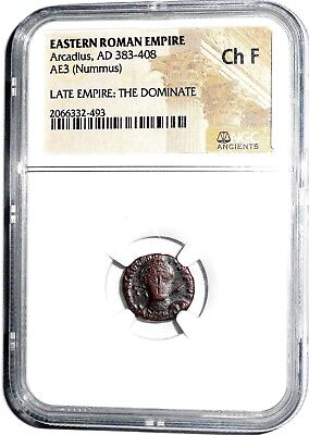 Eastern Roman Empire Arcadius The Dominate Nummus Coin,NGC Certified Choice Fine