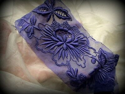 """Antique  Densely Embroidered Flower Fine Cotton Lace Tulle Trim Purple 4"""""""
