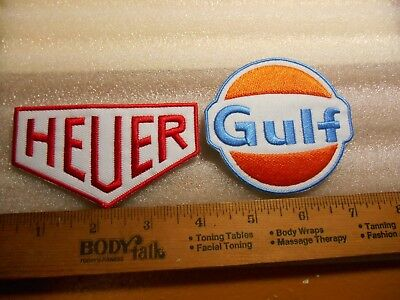 HEUER & Gulf Oil Iron on patches (2 patches, one of each)