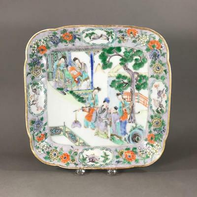 19th c. Chinese Export Famille Verte Porcelain Square Dish w/ Figures in Garden