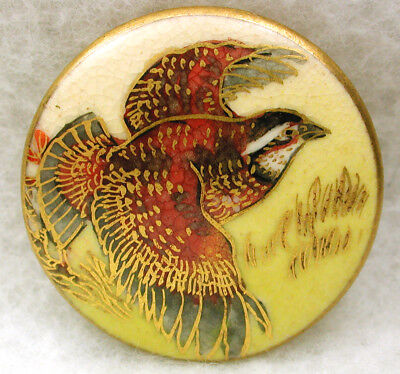 """Vintage Satsuma Button Colorful Hand Painted Grouse w/ Gold Accents 1 & 1/16"""""""