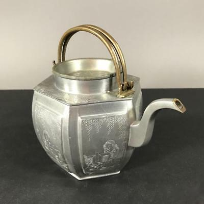 Signed 19th c. Chinese Hexagonal Pewter Teapot with Scenes of Ladies in a Garden