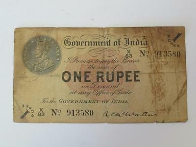Circulated 1917 George V One Rupee India Rare Type Note
