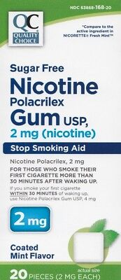 Nicotine Gum 2 mg Coated Mint Flavor Generic for Nicorette Gum 20 Count