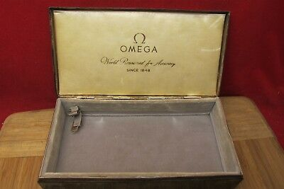 Vtg OMEGA Watch Box Only Silver plated Poole Silver Co. Nice