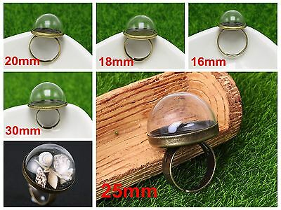 DIY Bronze Adjustable Ring with Clear Glass Terrarium 1/2 Globe Bottle 16mm-30mm