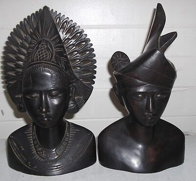 2 x hand carved from solid piece of wood TRIBAL INDIAN AFRICAN ASIAN? heads