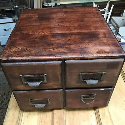 Antique 4 Drawer Wabash Cabinet Co Library File Card Catalog w/Card Separators