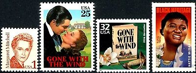 Gone With The Wind Complete Set All 4 MNH Stamps Scott's 2168 2446 3185i & 3996