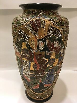 "12"" Japanese Satsuma Style Moriage Vase Gold Accents Made in Japan- Excellent"