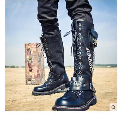 Mens Metal Chain Buckle New Punk Lace Up Pu leather Mid Calf Boots Casual Shoes