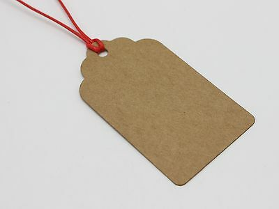 100 Blank Kraft Paper Hang Tags Label Price Gift Cards Wedding Party Favor 7X4cm