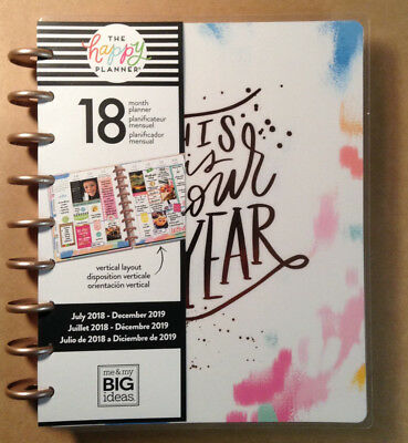 """NEW DESIGN! 2018-2019 Happy Planner CLASSIC """"BRUSHY BRIGHTS"""" **VERTICAL LAYOUT**"""