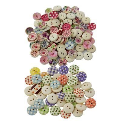 200Pcs/lot Flower Picture Wood Button 2 Holes Mixed Color Apparel Sewing DIY