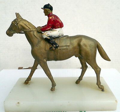 Trophy Mantle Piece Horse Rider Jockey Heavy Metal Marble Paint Race Equestrian