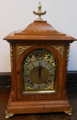 winterhalder & hoffmeir oak and brass 1/4 strike ting tang bracket clock c1900s