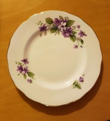 Violet gold floral plate Duchess bone china Jivoli