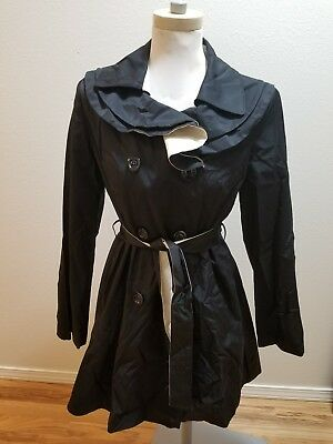 042464b7d132 NEW Betsey Johnson Women Trench Coat Belted Double Breasted Ruffle Black  Ivory M