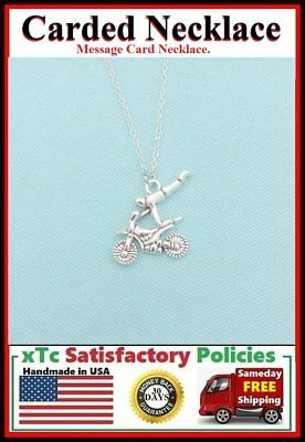 Biker Gift; Handcrafted Silver Dirt Bike Charm Necklace.