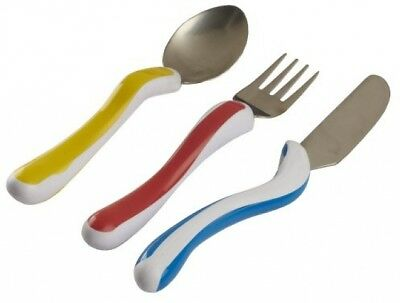 NRS Healthcare M80282 Kura Care Easy Grip Children's Cutlery - Knife, Fork And