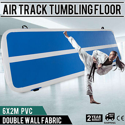 Inflatable Gym Mat Air Tumbling Track Floor w/Pump Portable Airtrack Running