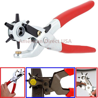 """9"""" Heavy Duty Leather Hole Punch Hand Pliers Belt Holes 6 Sized Punches Tool New"""
