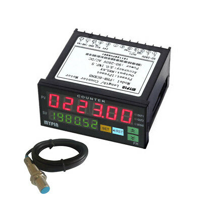 6 Digital Counter with Proximity Switch Sensor NPN Electronic Length Batch Meter