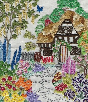 Vintage Hand Embroidered Pretty Country Cottage & Garden Unframed Linen Picture