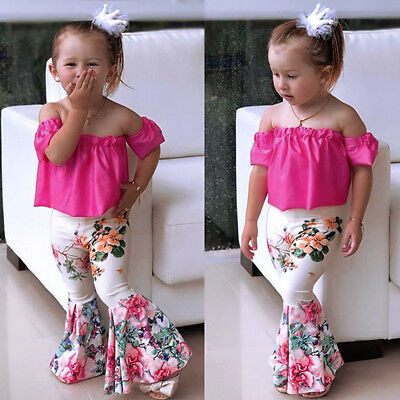 3pcs Toddler Baby Kids Girls Outfits T-shirt Top Floral Pants Clothes Set Summer