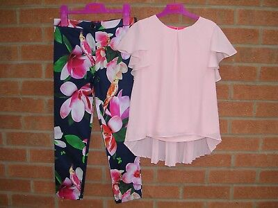 TED BAKER Girls Navy Floral Trousers Pink Top Set Outfit Age 9-10 140cm