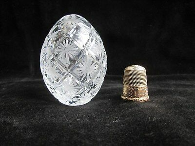 """Vintage FABERGE 2.5"""" EGG Signed & Numbered #2027 Cut Crystal MOTHERS DAY GIFT"""