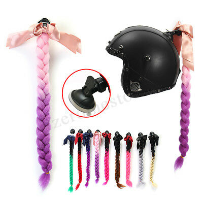 "22"" Motorcycle Bike Gradient Ramp Helmet Sucker Removable Braid Pigtail Ponytail"