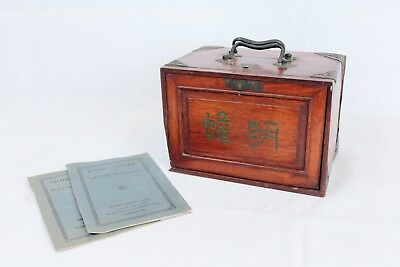 Antique Chinese Mahjong Set In Fitted Wooden Cabinet. Complete