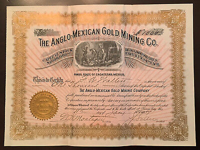 1897 Anglo-Mexican Gold Mining Co. Stock Cert. (Zacatecas) > No Reserve