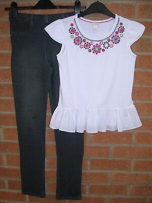 MONSOON Girls White Cotton Beaded T-Shirt Top & Leggings Outfit Age 11-12
