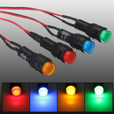 12v 10mm Universal LED Dash Pilot Panel Indicator Warning Light Lamp Car Boat Ma