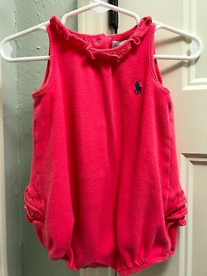 Baby Girls Sz 9 Mo Pink RALPH LAUREN One-Piece w/Blue Pony Logo & Ruffled Bottom