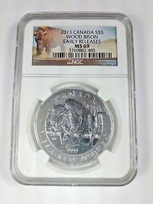 New (with Staining) 2013 Canadian Silver Wood Bison 1oz Early Release NGC MS69