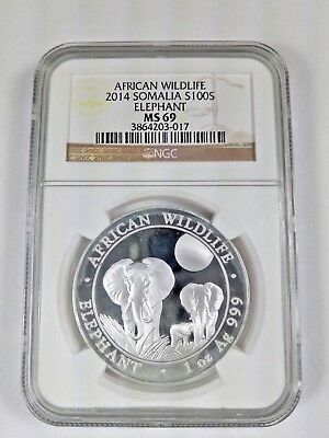 New (with Stains) 2014 Somalia Silver African Elephant 1oz NGC MS69 Graded Coin