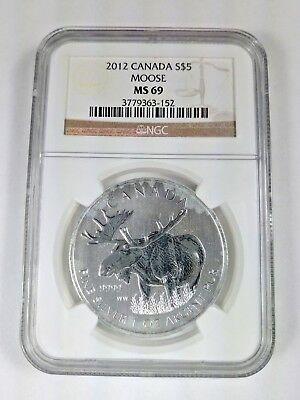 New (with Stains) 2012 Canadian Silver Moose 1oz NGC MS69 Graded Slab Coin