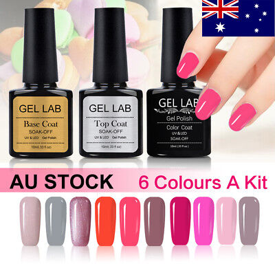 Gel Lab/Blue Velvet 6 Colors Set UV LED Gel Nail Polish Top Base Coat AU Stock