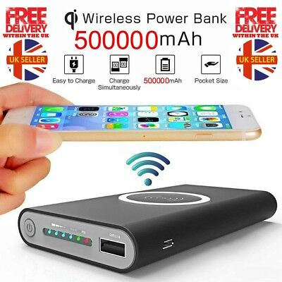 Qi Wireless Charger Power Bank 500000mAh iPhone X 8 8Plus XS XR Samsung 8 8+ 9