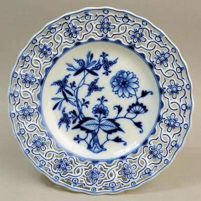 Antique Meissen Pierced Porcelain Blue & White Onion Plate C.1900