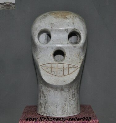 Chinese Liangzhu culture old jade carved Skeleton Devil Skull death-head Statue
