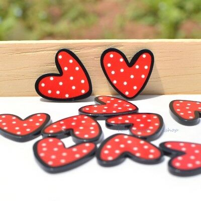 10Pcs Heart Flatback Resin Buttons Ornament Decoration Scrapbooking Crafts Red