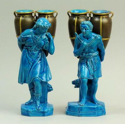 Antique Royal Worcester Blue Glazed Pottery Classical Figures Water Carriers