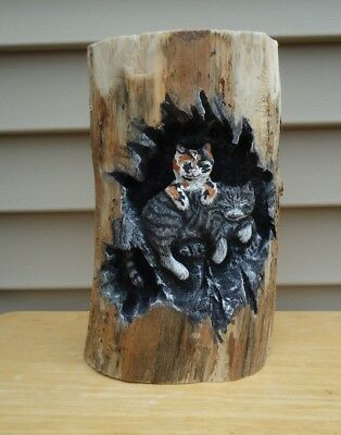 Hand Carved Domestic Cats Sculpture Log Rustic Folk Art Wood Spirit Great Gift
